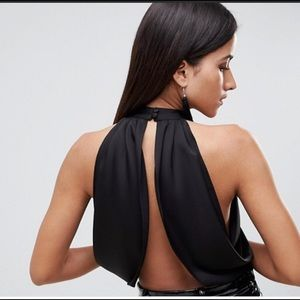 a9ad61bda5ed7e ASOS Tops - ASOS DESIGN Sexy Drape Crop Top With High Neck